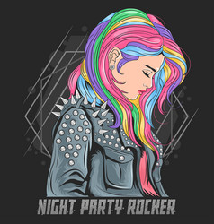Girl unicorn full colour hair with rocker jacket p vector
