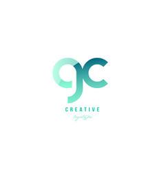 Green gradient pastel modern gc g c alphabet vector