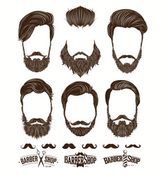 Hairstyle and beard hipster fashion barbershop vector