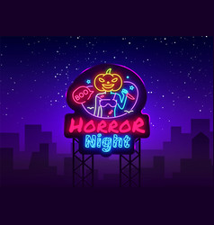 halloween neon sign horror night neon vector image