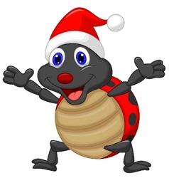 Happy ladybug cartoon wearing red hat vector image