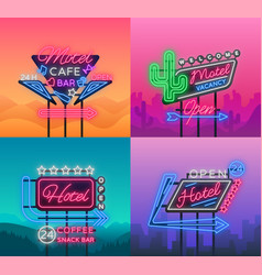 Hotel and motel are collection of neon signs vector