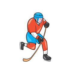Ice Hockey Player With Stick Cartoon vector