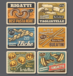 italian pasta macaroni retro posters cards vector image
