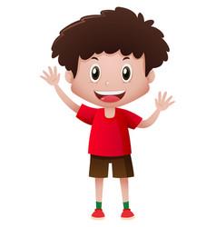 Little boy in red shirt waving hands vector