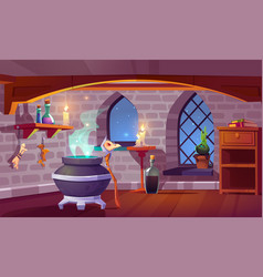 magic room interior with cartoon witch stuff vector image
