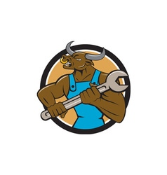 Mechanic Minotaur Bull Spanner Circle Cartoon vector