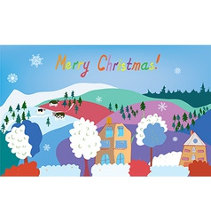 Merry Christmas card with mountain village cows vector image
