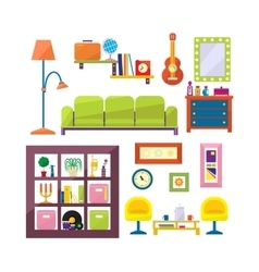 Modern furniture set in flat style vector
