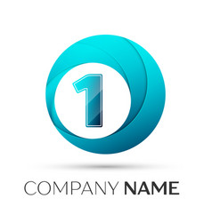 Number one logo symbol in the colorful circle on vector