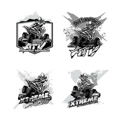 Off-road atv quad bike set logos black and vector