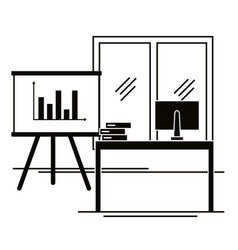 Office workplace scene icons vector