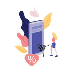 online shopping flat - woman vector image