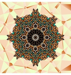 Ornate stylized mandala design over triangles vector image