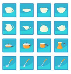 Pastry set icon blue app vector