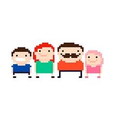 Pixel art family vector image