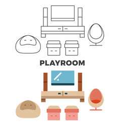 playroom concept - flat and line style room design vector image