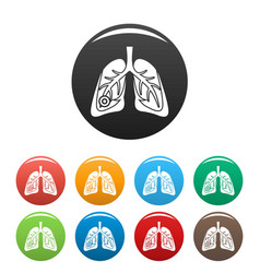 pneumonia lungs icons set color vector image