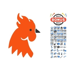 Red Rooster Icon With 2017 Year Bonus Pictograms vector