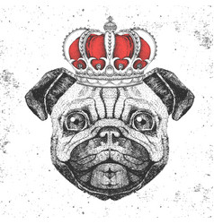 Retro hipster animal pug-dog in crown vector
