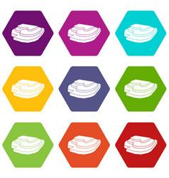Rice field icon set color hexahedron vector