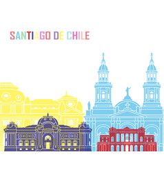 Santiago de chile v2 skyline pop vector