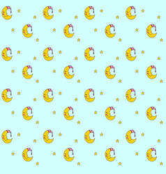 seamless pattern with cartoon sleeping moon in vector image