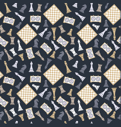 seamless pattern with chess on dark bluu vector image