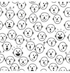 seamless pattern with simple hand drawing faces of vector image