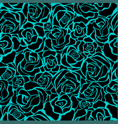 Seamless retro background with black roses vector