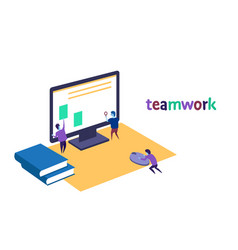 Search engine optimization people working together vector