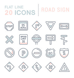 Set line icons road sign vector