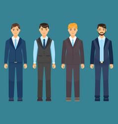 set men in suit or costume blond brunet vector image