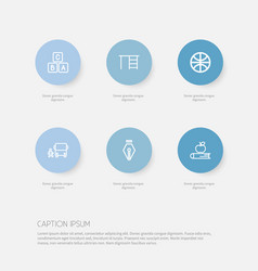 Set of 6 editable education icons includes vector