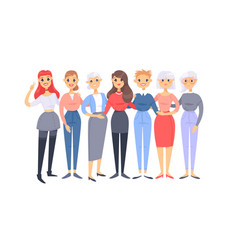 set of a group of different caucasian women vector image