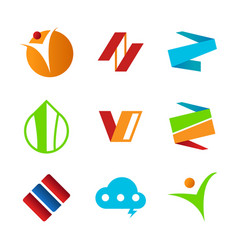 set of abstract corporate symbols design vector image