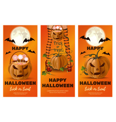 set of vertical orange banners for halloween vector image
