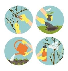 Set with seasonal activities in garden vector image