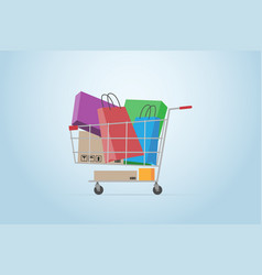 Shopping cart full of boxes and bags flat design vector