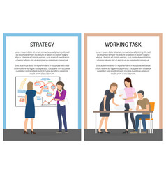 strategy office work set posters with workers vector image