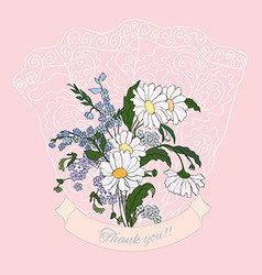 Thank you card with daisy vector image