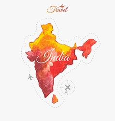 Travel around the world India Watercolor map vector image