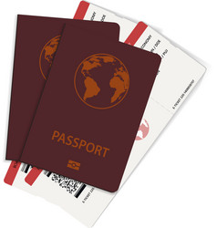 two boarding pass tickets inside of passports vector image