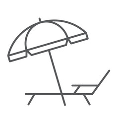 Umbrella and sun lounge thin line icon travel vector