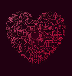 Valentine day line icon heart concept vector