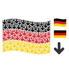 Waving german flag pattern of arrow down icons vector