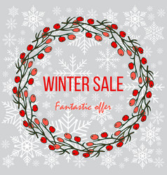 winter sale poster special offer discount vector image