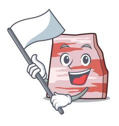 With flag pork lard mascot cartoon vector