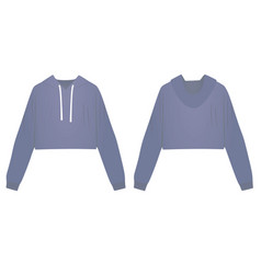 Woman blue crop hoodie vector