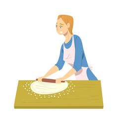 Woman in apron cooking in kitchen housewife vector